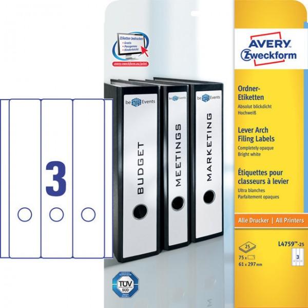 Etikett 61x297mm breit/lang Ordner weiß 25 Bl./ 75 Etiketten , blickdicht