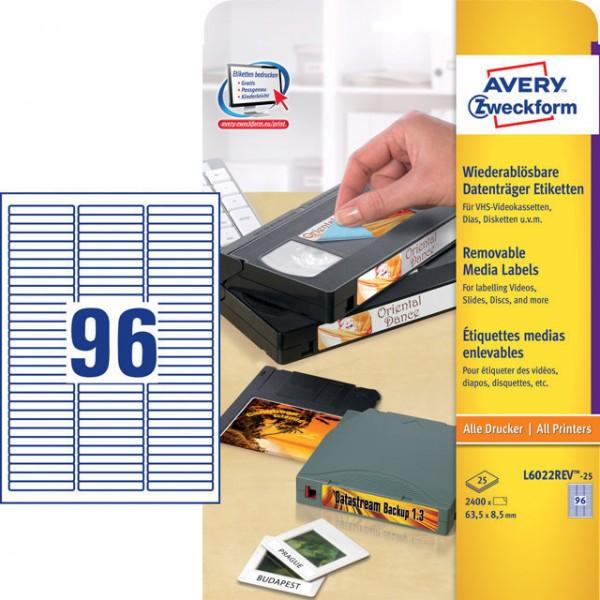 Etikett 63,5x8,5mm ZIP Disc wiederablösbar weiß 25 Bl/ 2400 Etiketten