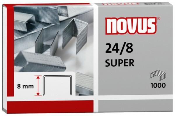 Heftklammern 24/8 verzinkt 1000 St./Pack Heftleistung:50 Bl. (80 g/m²) NOVUS 040-0038 SUPER