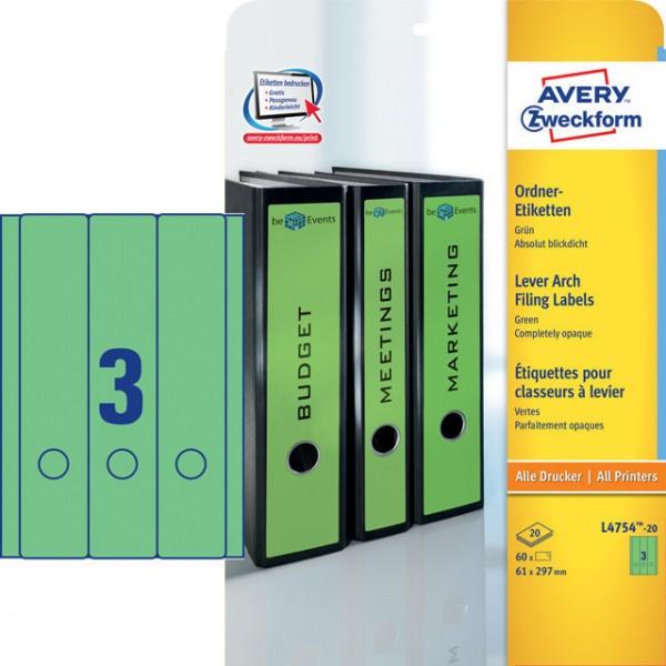 Etikett 61x297mm breit/lang Ordner grün 20 Bl./60 Etiketten , selbstklebend