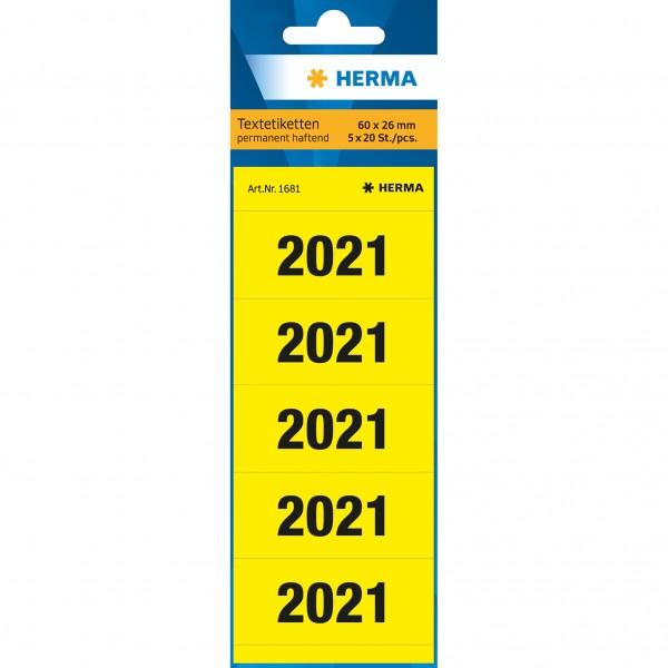 """Rüschi """"2021"""" gelb Herma 100 St./Pack 60x26mm, Jahreszahlen, selbstklebend"""