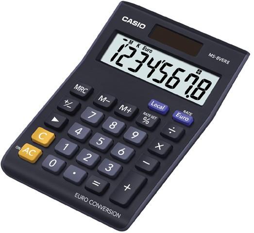 Casio Tischrechner MS-8 VERII 8-stellig Batterie- und Solarbetrieb,Großes Display
