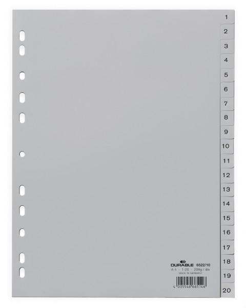 Register A4 1-20 Plastik PP grau Größe (B x H): 215/230 x 297 mm