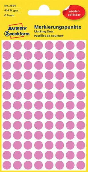 Etiketten 8mm wiederablösbar pink 416 Etik./Pack