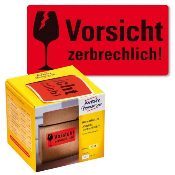 Warnetikett Aufdruck:Vorsicht zerbrechlich rot 100x50mm, 200 St./Pack