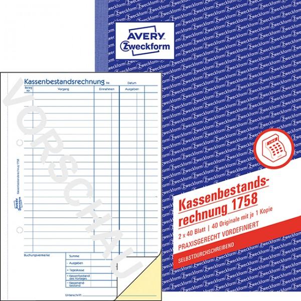 Zweckform Kassenbestandsabrechnung A5 SD 2X40 Blatt **Restbestand,begrenzte Menge**