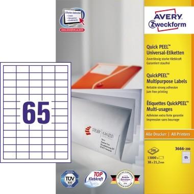 Etikett 38x21,2mm Stick+Lift wiederablösbar weiß 200 Bl. / 13000 Etiketten