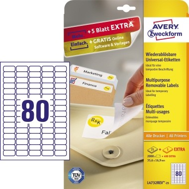 Etikett 35,6x16,9mm Stick+Lift wiederablösbar weiß + 20 % / 25 Bl. + 5 Bl. / 2000 + 400 Etiketten