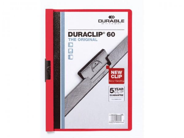 Klemmappen A4 Duraclip 60 für 60 Blatt rot Nr.03 Farbe der Vorderseite/Rückseite: transparent/rot