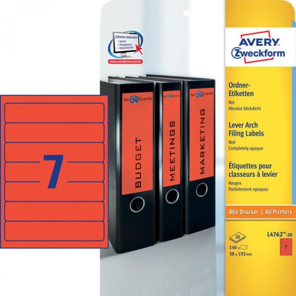 Etikett 192x38mm Ordner schmal/kurz rot 20 Bl./140 Etiketten