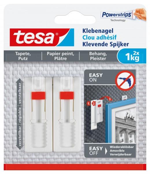 Klebenagel tesa für Tapete,Putz ablösbar weiß 2x 1kg / 2 St./Pack