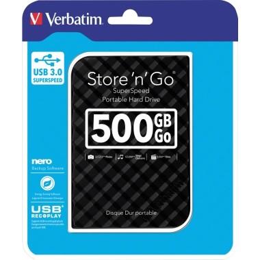 Festplatte extern Verbatim Store 'n' Go USB 3.0 Speicherkapazität: 500 Gbyte, schwarz