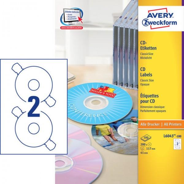 Etikett 117mm Ø CD CassicSize matt weiß 100 Bl./200 Etiketten