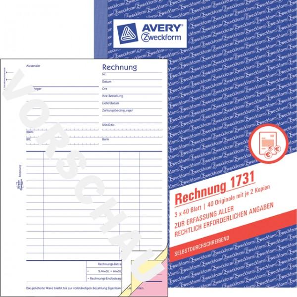 Zweckform Rechnung A5 3x 40 Blatt SD