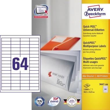 Etikett 48,5x16,9mm QuickPEEL Abziehhilfe weiß 200 Bl. / 12800 Etiketten