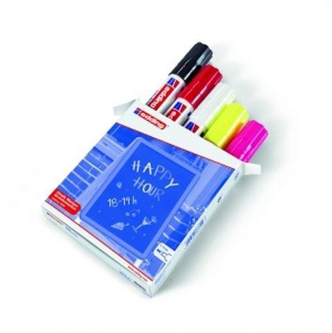 Kreidemarker 4090 Edding 4-15mm 5 Stück./Pack schwarz, rot, weiß, neongelb und neonpink