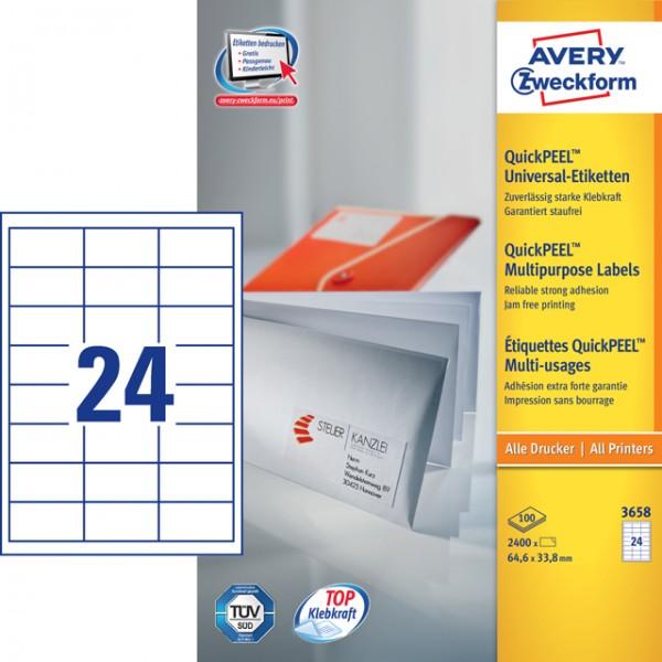Etikett 64,6x33,8mm QuickPEEL weiß 100 Bl./ 2400 Etiketten