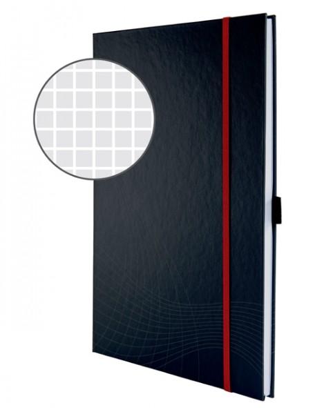 Notizbuch A4 Notizio 90 g/m² kariert dunkelgrau Hardcover , 80 Blatt