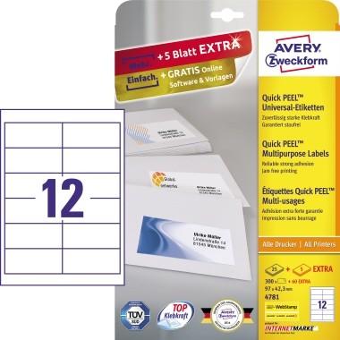 Etikett 97x42,3mm Universal weiß + 20% 25 Bl. + 5 Bl. / 300 Etiketten + 60 Etiketten