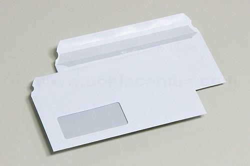 Briefhüllen DL SK MF weiss Klappe hoch. 110x220MM(Scandia) Fenster glaskl./1000 St./Pack