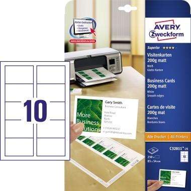 Visitenkarten 85x54 mm weiss blanco 250 Stück Quick+Clean / 200gr.