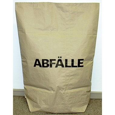 Müllsack 120 Liter Papier 75x95cm 70g/m² braun 2-lagig, 25 St./Pack , Druck ABFÄLLE