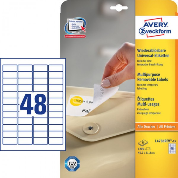 Etikett 45,7x21,2 Stick+Lift wiederablösbar weiß 25 Bl. + 5 Bl. /1200 + 2400 Etiketten
