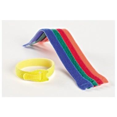Klettband VELCRO 12mmx20cm (BxL) 5 St./Pack Farbe: blau, grün, rot, orange, gelb