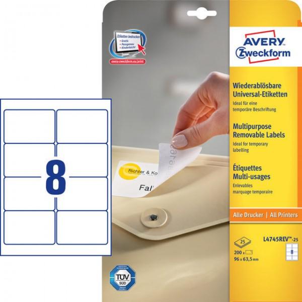 Etiket 96x63,5mm Stick+Lift ablösbar weiß 30 Bl./200 Etiketten+40 EXTRA,selbstklebend