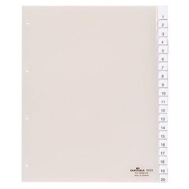 Register A4 blanko 20-teilig Überbreite grau mit Farbstreifen, 0 - 20, A-Z, Schilder