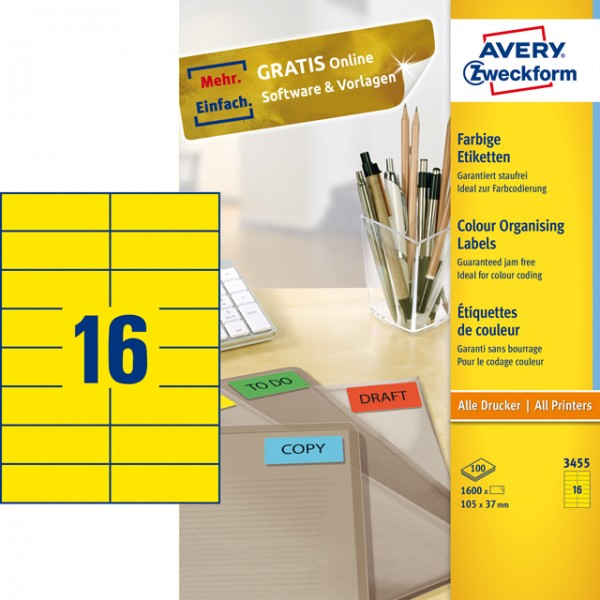 Etikett 105x37mm Universal gelb 100 Bl. /1600 Etiketten