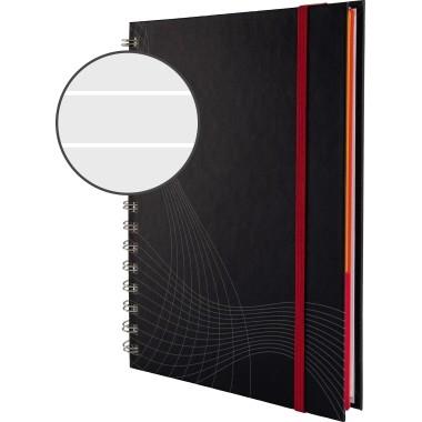 Notizbuch A5 kariert 90 g/m² 90 Bl. dunkelgrau Hardcover spiralgebunden