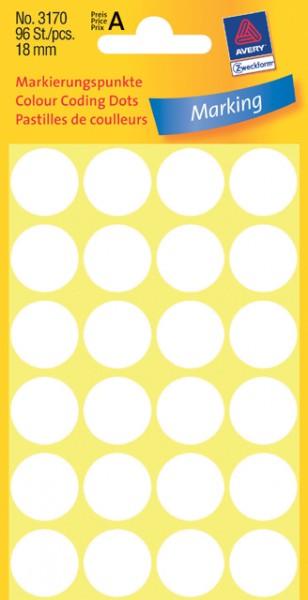 Etiketten 18mm weiß 96 St./Pack Markierungspunkt permanent