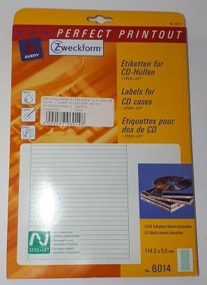 KOPIER/LASER ETIKETT 114,3X5,5MM FÜR CD HÜLLEN / 1200 ETIKETTEN WEISS