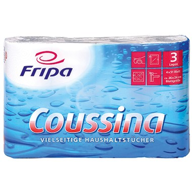 Haushaltsrollen 3-lagig 4x51 Blatt Fripa Coussina weiß, 4-er Packung