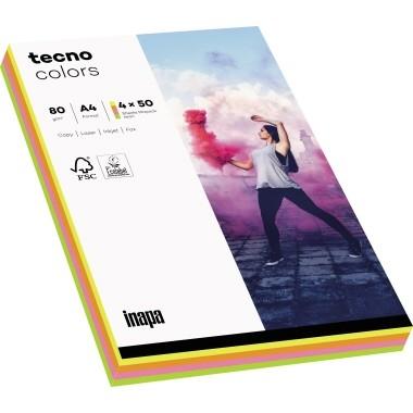 Kopierpap. A4 80g/m² Pastellmix 100 Bl./Pack Tecno colors