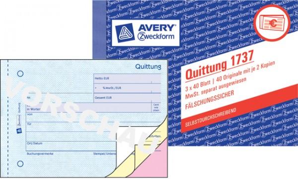 Zweckform Quittung A6 quer 3x 40 Blatt SD MwSt. separat ausgewiesen