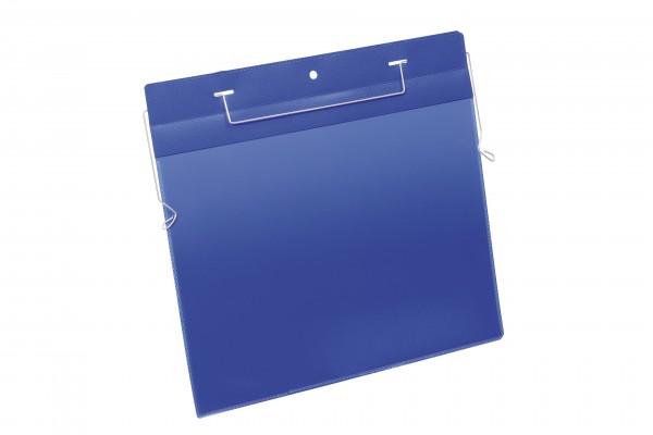 Kennzeichnungstasche A4 quer Drahtbügeleinsatz bl 50 St./Pack