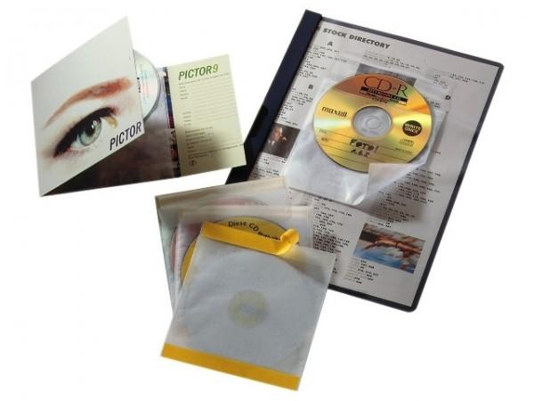 CD-FIX SELBSTKLEBENDE CD-HÜLLE AUS PP MIT SCHUTZVLIES UND VERSCHLUSSKLAP. 10ST