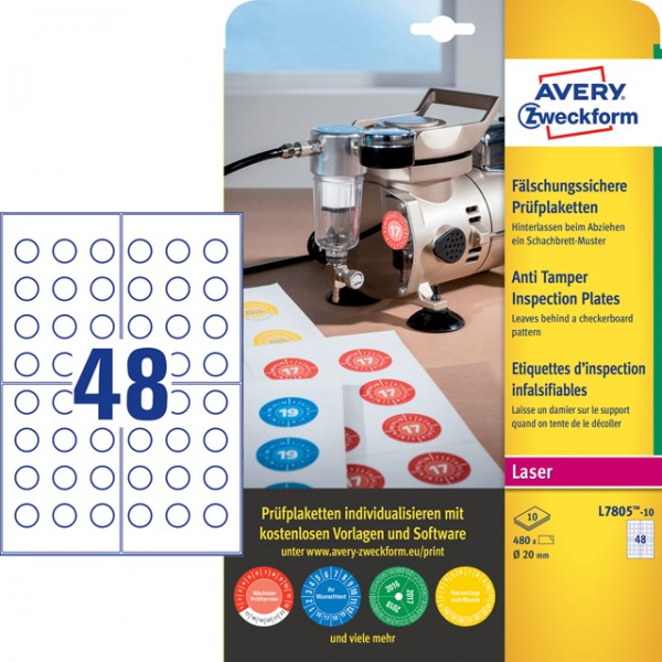 Etikett 20mm Ø Prüfplaketten fälschungssicher weiß 10 Bl./480 Etiketten,Polyester,witterungsbeständi