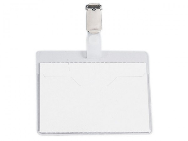 Namensschilder 60x90mm Tasche oben offen mit Clip Transparent 25 St./Pack