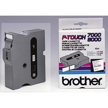 P-Touch Kassette TX-251 schwarz/weiss 24mm für P-touch 7000, -8000, -PC