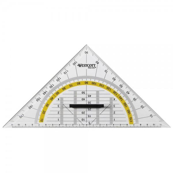 Geometriedreieck 25cm Westcott transparent mit Griff und farbig hinterlegten Winkelgraden