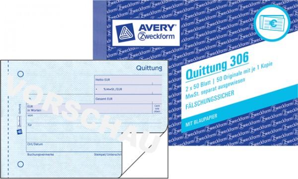 Zweckform Quittung A6 quer 2x 50 Blatt mit MwSt. separat ausgewiesen,Fälschungssicher