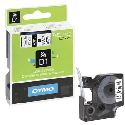 Bänder Dymo 45013 12mmx7m schwarz/weiß D1 laminiert , S0720530