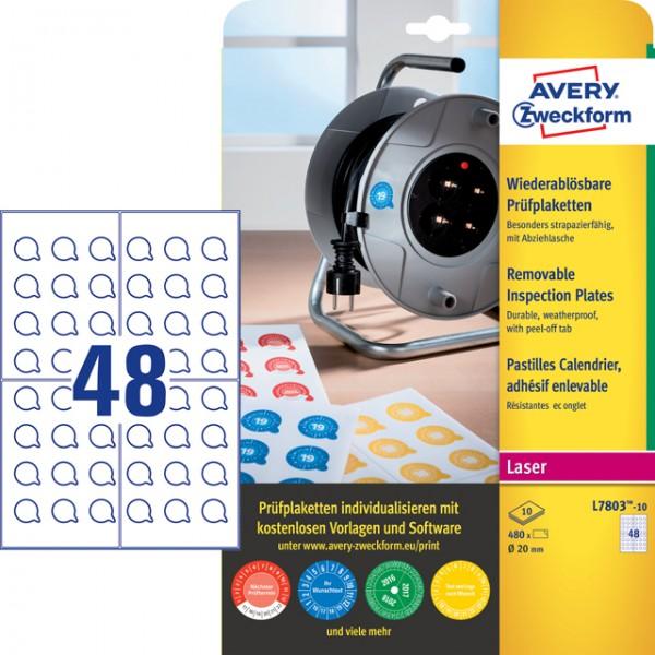 Etikett 20mm Ø Prüfplaketten wiederablösbar weiß 10 Bl./480 Etiketten,Polyester,witterungsbeständig