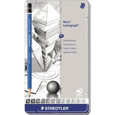 Bleistifte Staedtler Mars Lumograph 100 12 St./Pac Härte 6B, 5B, 4B, 3B, 2B, B, HB, F, H, 2H, 3H, 4H