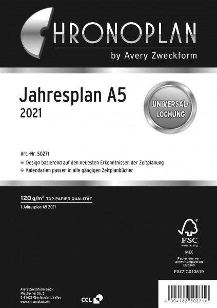 Chronoplan Jahresplan A5 2021 Leporello-Faltung und 2 Lochleisten