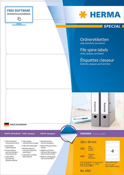 Etikett 192x59mm Ordner breit/kurz weiß 100 Bl./ 400 Etiketten