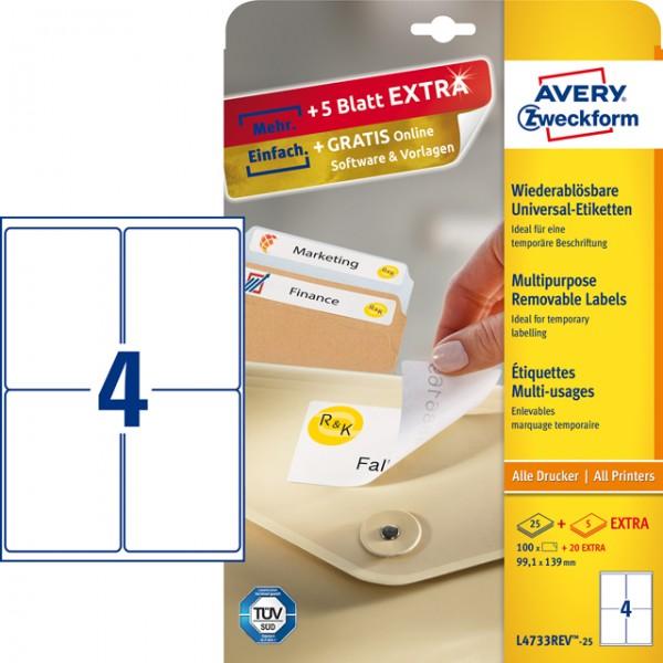 Etikett 99,1x139mm Stick+Lift wiederablösbar weiß 25 Bl. + 5 Bl. / 100 Etiketten + 20 Etiketten
